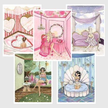 "Set of 5 Art Prints: ""The Kitsch Hotel Series"" 8""x10"""