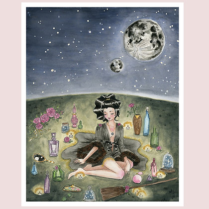 """Custom Giclée Print: """"get out and get under the moons"""" 8""""x10"""""""