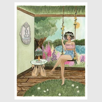 """Art print: """"Kitsch Hotel: Green Garden Suite"""" 8""""x10"""""""