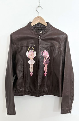 """angel and devil guardians"" Hand-painted Vintage Leather Jacket"