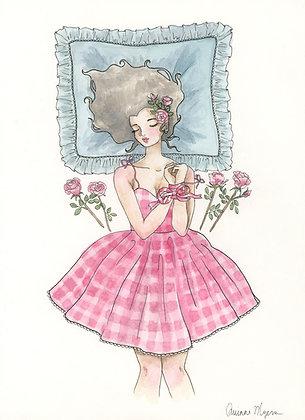 """""""la belle au bois dormant"""" Original Painting - 8""""x11"""""""