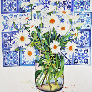 White Daisies and Tiles