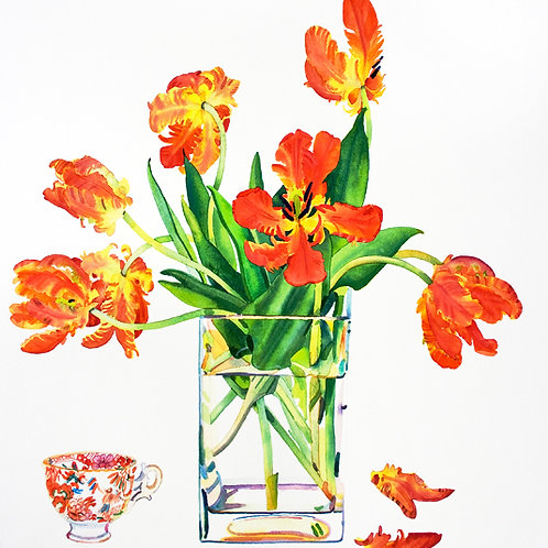 Parrot Tulips and a Teacup - limited edition giclee print
