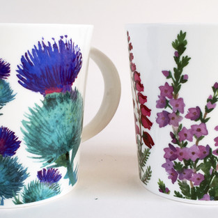 Scottish Thistle and Heather Mugs