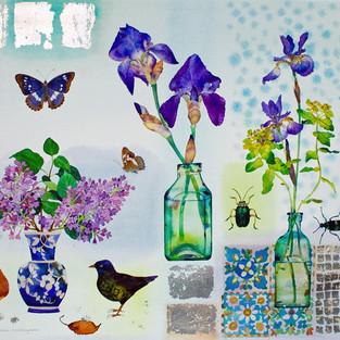 Irises Lilac and Bird