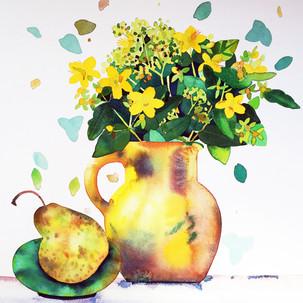 Yellow Jug and Pear