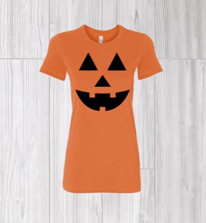 Pumpkin Face Halloween- Womans T-Shirt