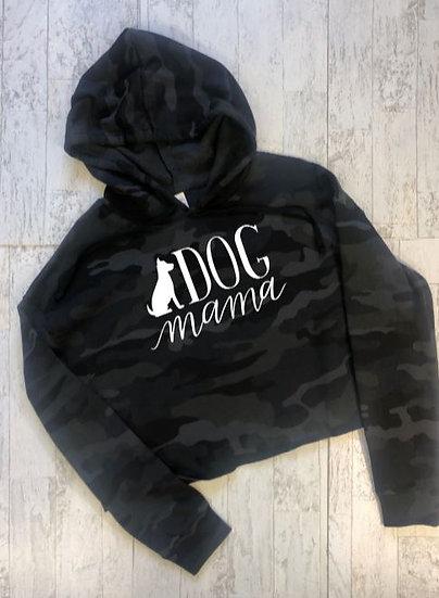 Dog Mama Black Camo Cropped Hooded Sweatshirt