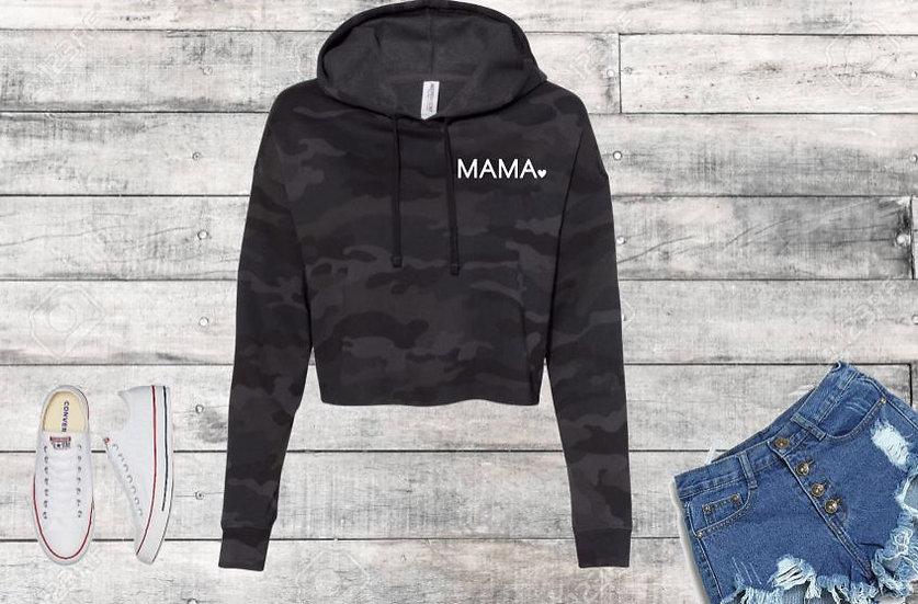 MAMA Black Camo Cropped Hooded Sweatshirt