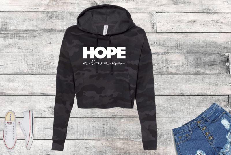 Hope Always Black Camo Cropped Hooded Sweatshirt
