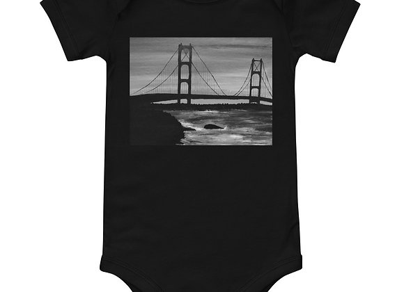 Black and white Mackinac Bridge Onesie