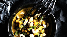 Cauliflower + Chickpea Curry with Raw Cashews, Torn Mint and Coriander Seeds
