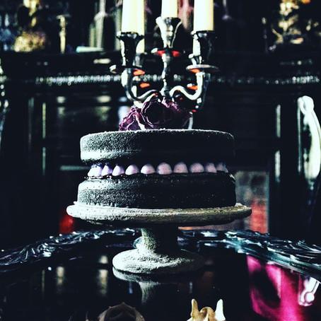 Vegan Black Vanilla Cardamom Victoria Sponge Cake w/ Damson Plum Preserve + Lavender Buttercream