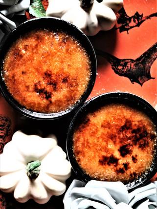 Vegan Spiced White Pumpkin + Dark Chocolate Crème Brulee