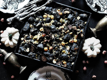 Vegan Herbed Cremini, Porcini, Oyster Mushroom Dressing With Black Mission Figs + Roasted Hazelnuts
