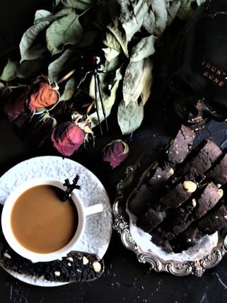 Vegan Black Velvet Chocolate Almond Macadamia Nut Biscotti