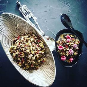 Raw Vegan IMBOLC'S BLESSING Spring Granola w/ Dark Groats, Pumpkin Seeds, Goji, Cinnamon + Clove