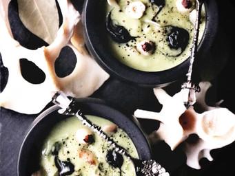 Sweet Pea + Roasted Romanesco Soup w/ Black Garlic Puree, Hazelnut Eyes + Crisp Parsnips