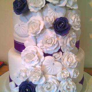 Tall flower wedding cake