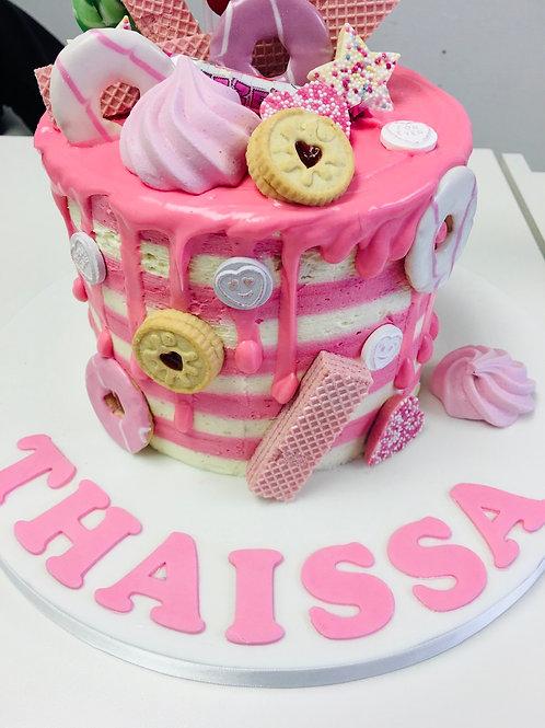 Pink buttercream stripe cake