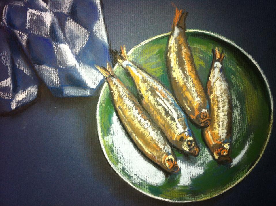 Visjes - pastelkrijt op papier - 31x24cm