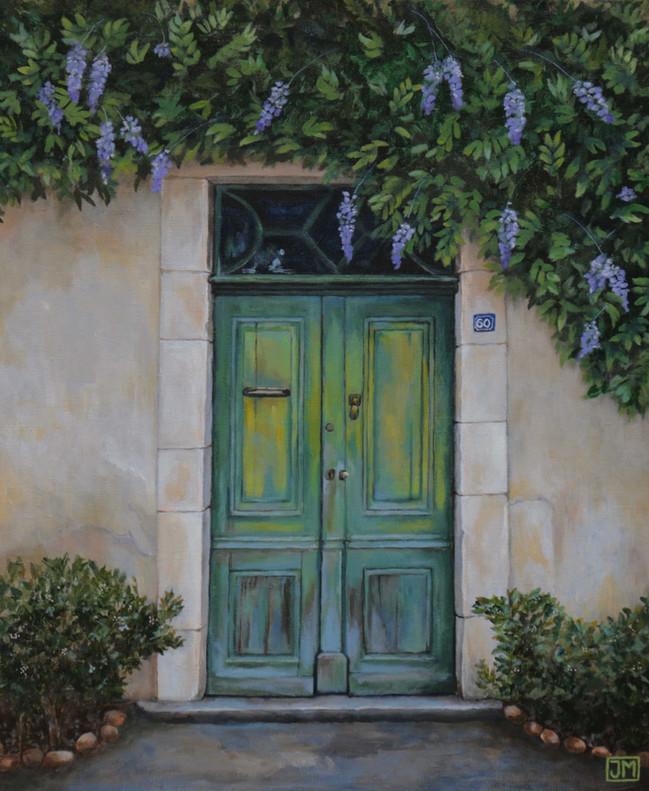 Frans deurtje - acryl op linnen - 50x60cm