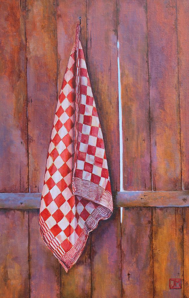 Rode pompdoek - olieverf op linnen - 40x60cm