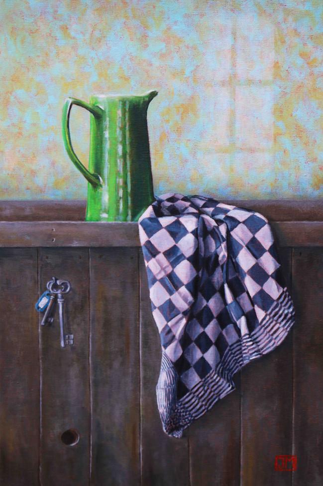 Groene kan - olieverf op linnen - 40x60cm