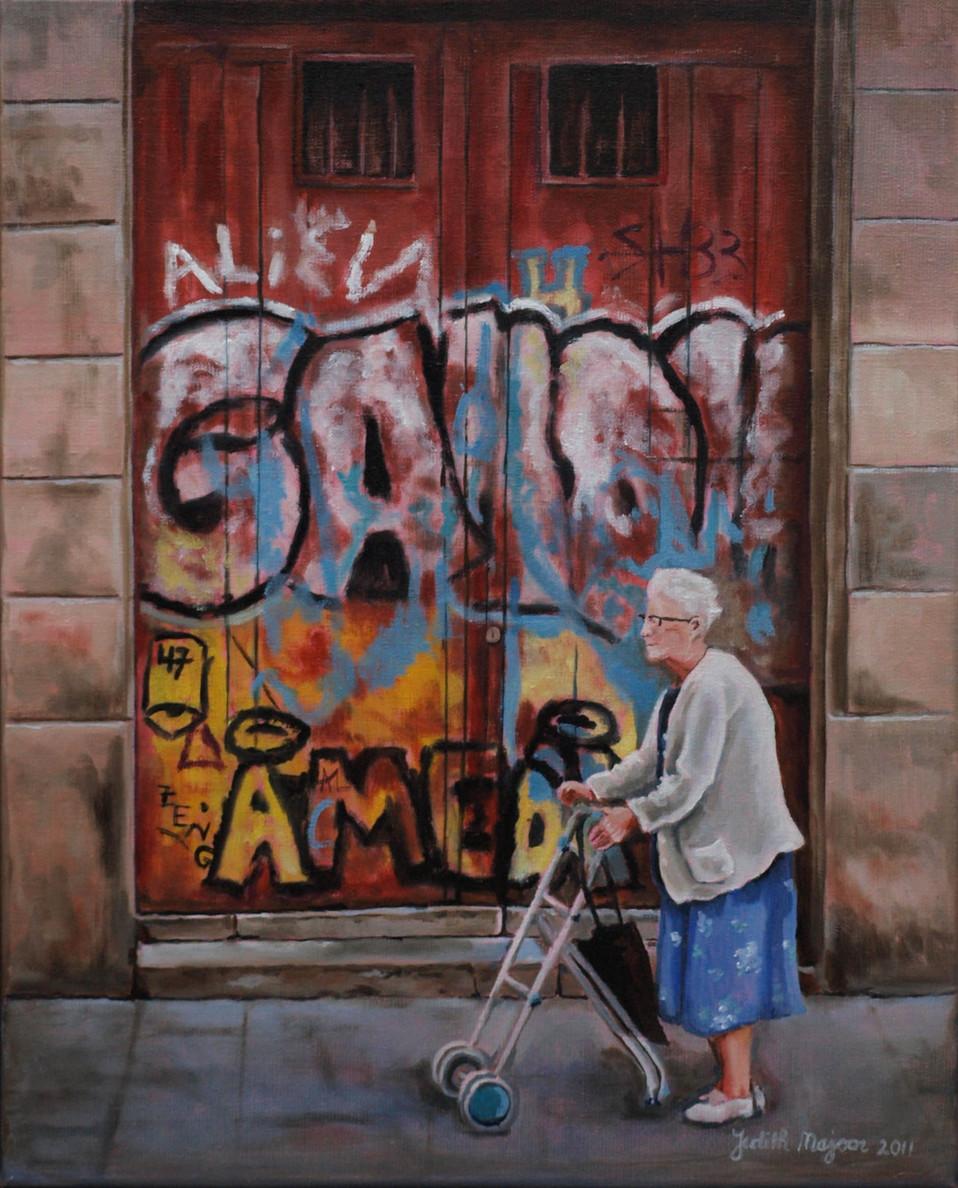 Grandma grafitti - olieverf op linnen - 30x40cm