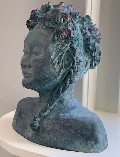 Bloemenkop - brons  - 25cm hoog unica