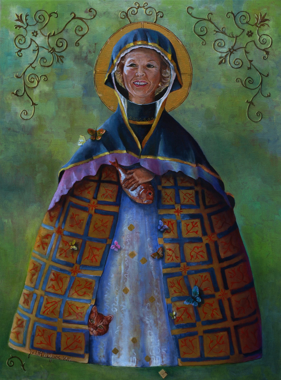 Beatrix - olieverf en bladgoud op doek - 60x80cm