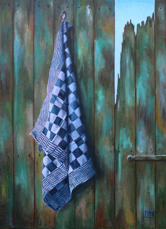 Blauwe pompdoek - olieverf op linnen - 40x60cm