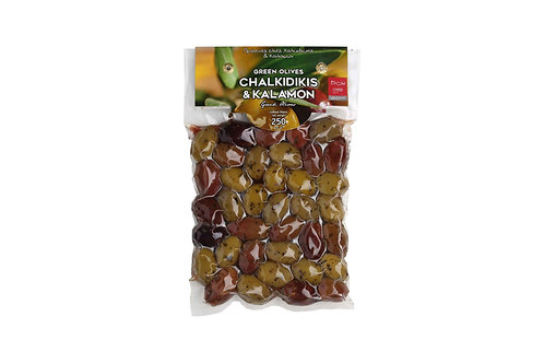 Mixed Green and Kalamon Olives / Ανάμεικτες Καλαμόν & Πράσινες Ελιές 250gr