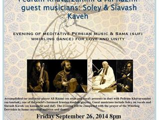 Honoring M. Rumi's Birthday with an evening of poetry, meditative Persian music & Sama (Sufi