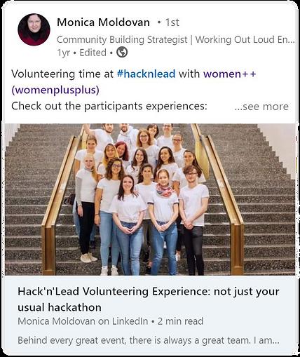 Monica Moldovan - Hack'n'Lead 2019 testi