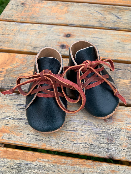 Navy Waxed Flesh Crib Boots