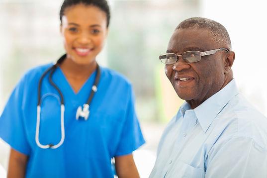 People+-+elderly+man+black+with+nurse+wo