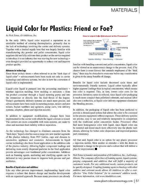 iD Additives Weighs In on Liquid Color - Featured in Plastics Business Magazine!