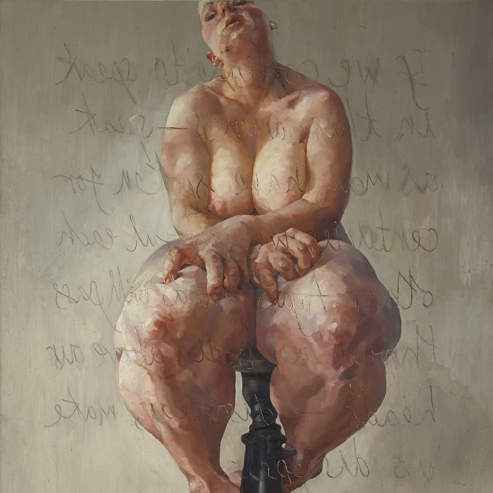 A portrait of a woman, painted looking up from below. The perspective makes her knees, thighs, hands and breasts look very large.