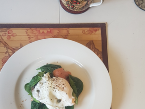 A photo of my breakfast. It is tasty and inviting - poached egg, smoked salmon, avocado, spinach - on gluten free bread and vegan cream cheese that you can't see in the photo, so shh don't tell anyone.