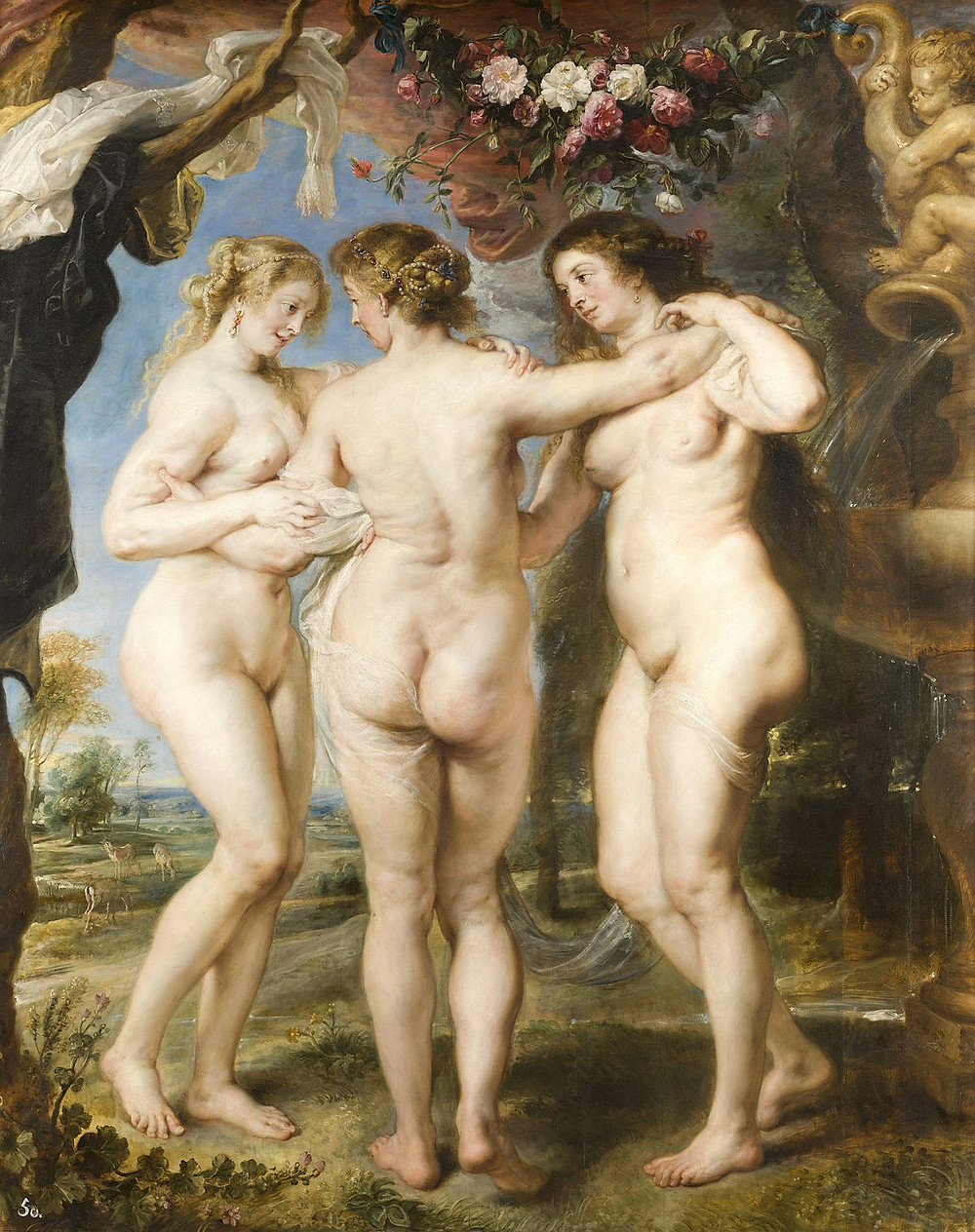 A Rubens painting of three Rubenesque ladies just generally being graceful and Rubenesque