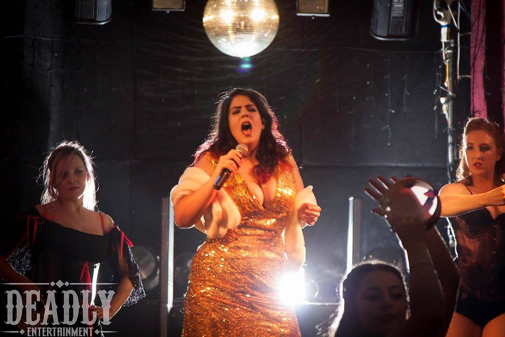 Lucinda Panties Character Singing Onstage Lady Velvet Cabaret