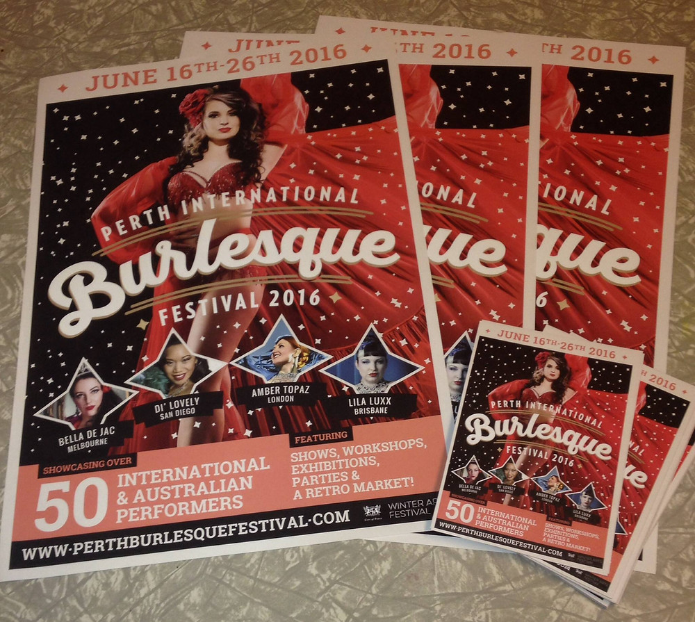 Perth Burlesque Festival Flyers and Posters