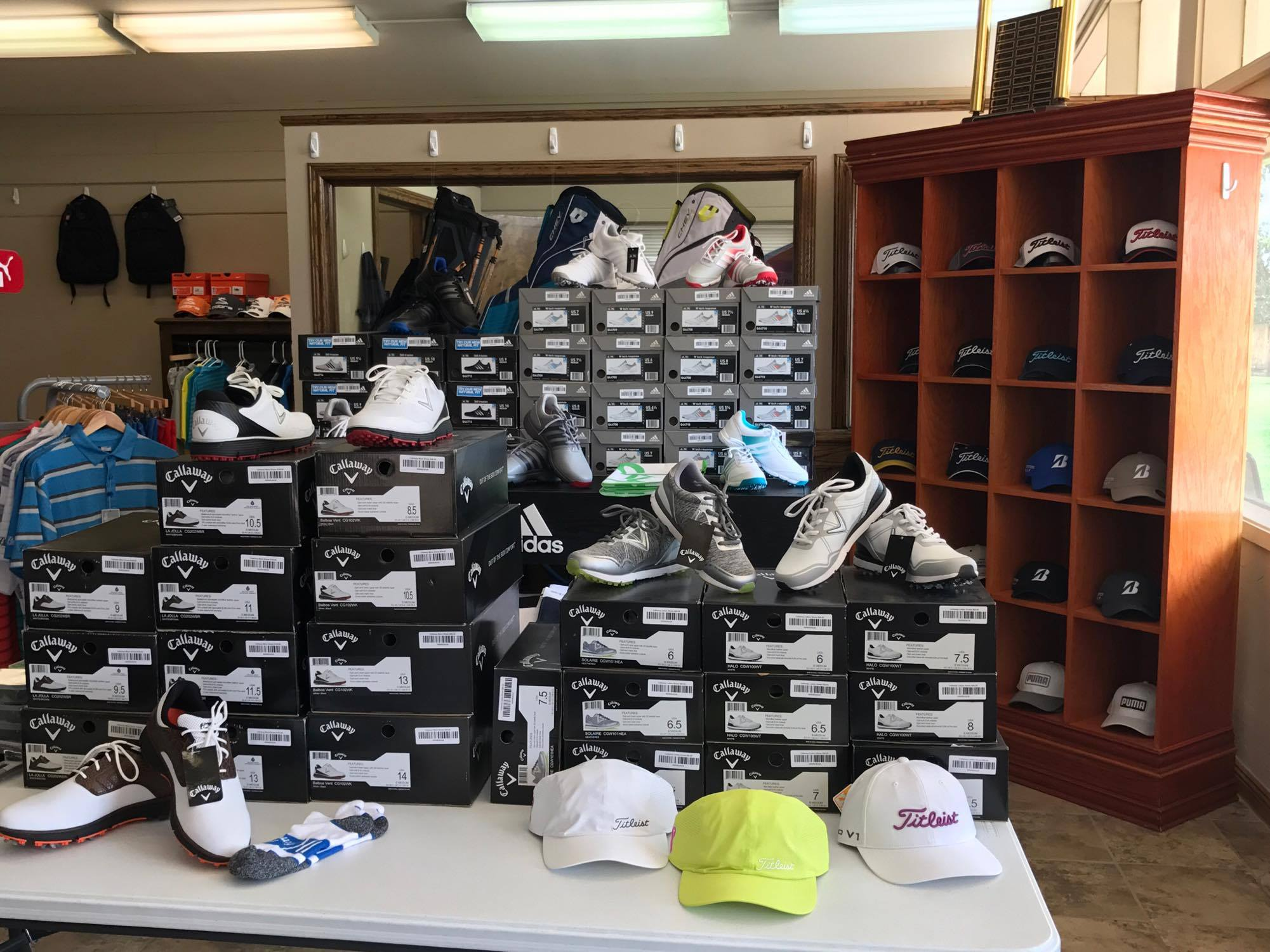 Men's and women's shoes sold here.