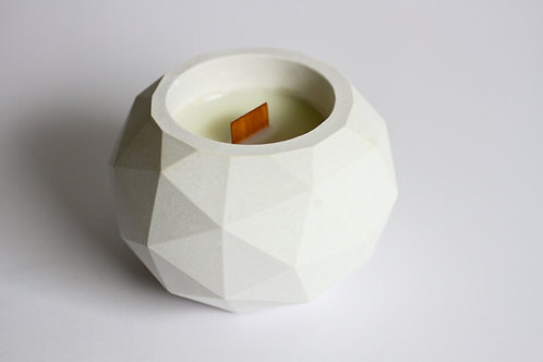 Geodesic Cement Candle Large