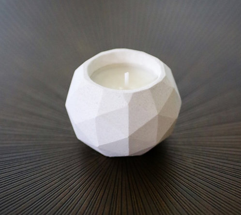 Geodesic Cement Candle Small