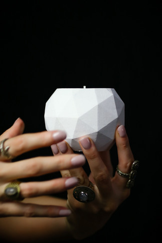 geodesic cement soy candle