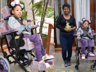 Com a nova cadeira de rodas adaptada, agora Mayara vai poder dançar