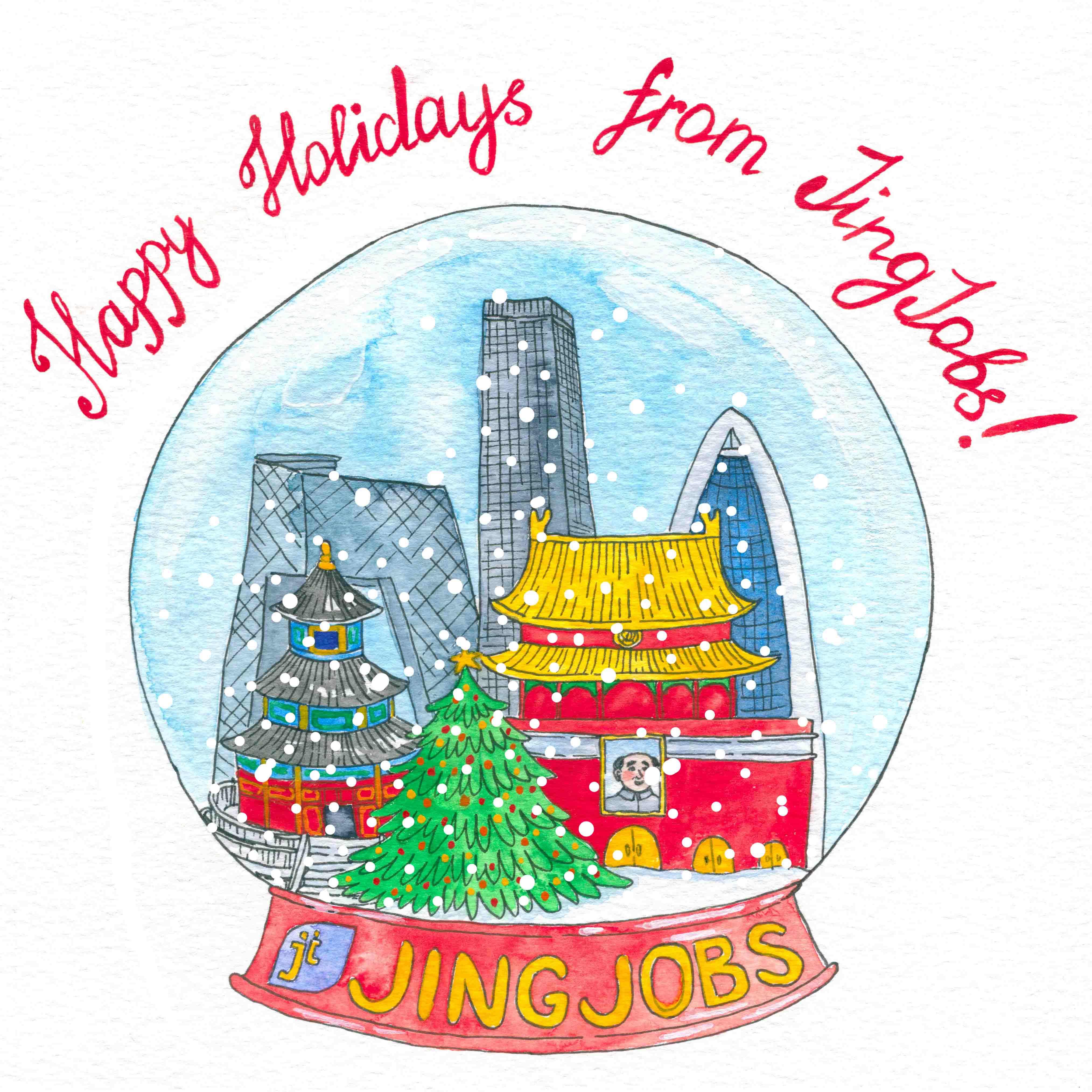 Christmas Card Illustration for Jing