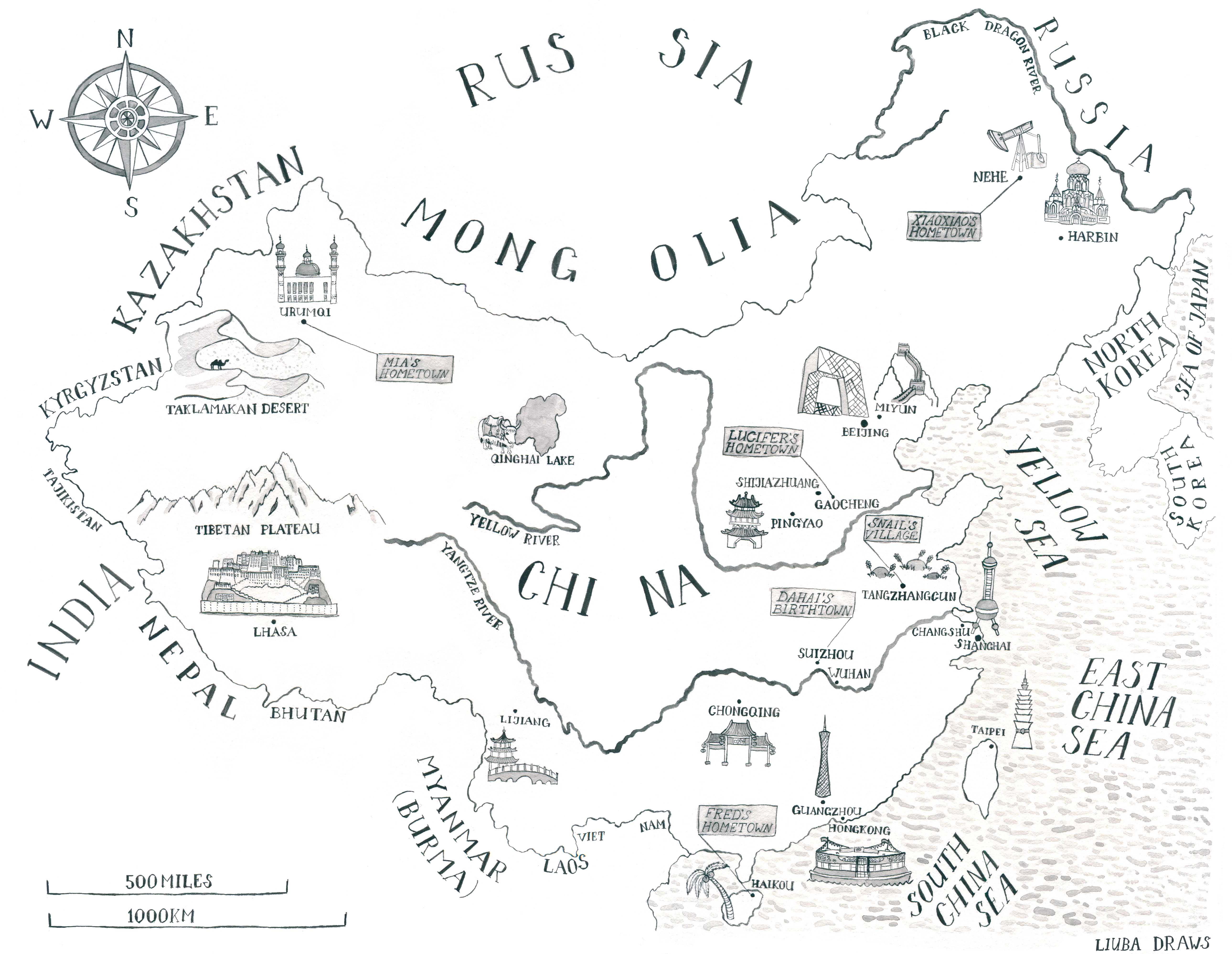 Liuba Draws Map Illustration